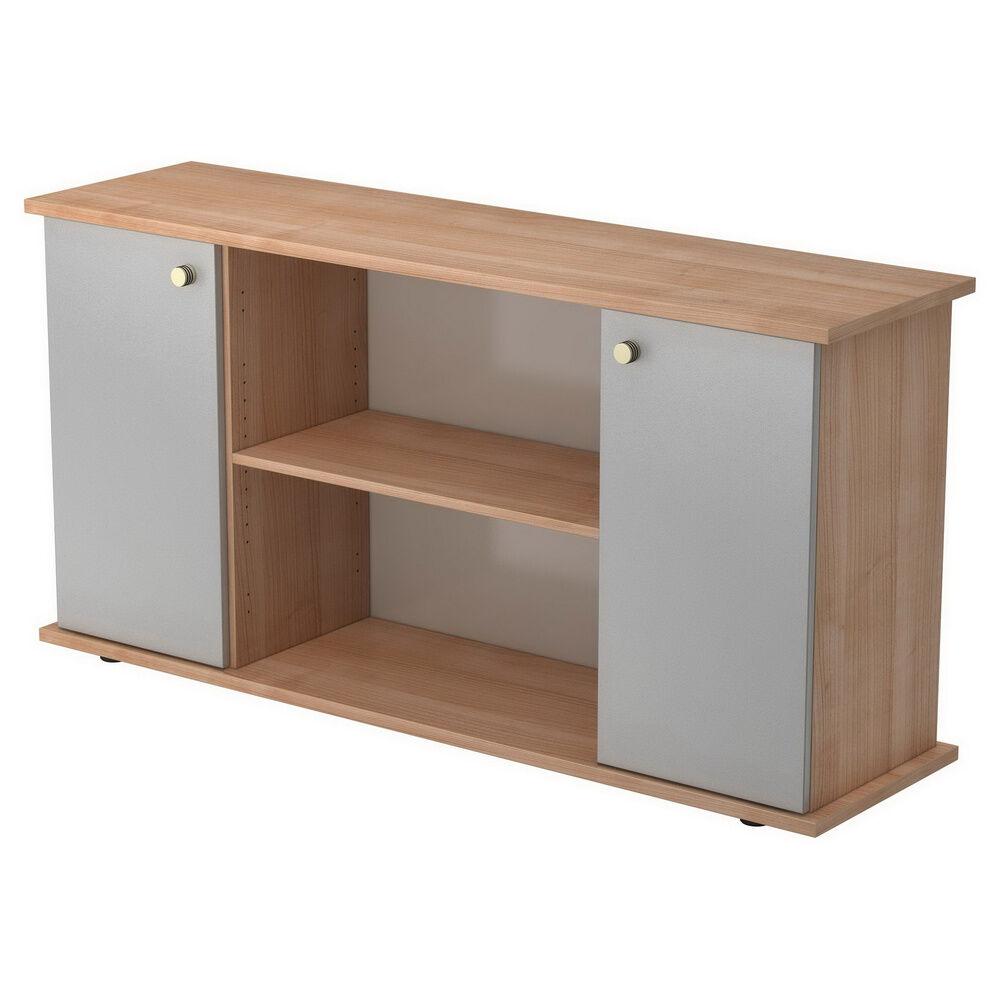 hjh OFFICE PRO KAPA SB   Sideboard   avec portes - Noyer/Argent avec bouton Buffet