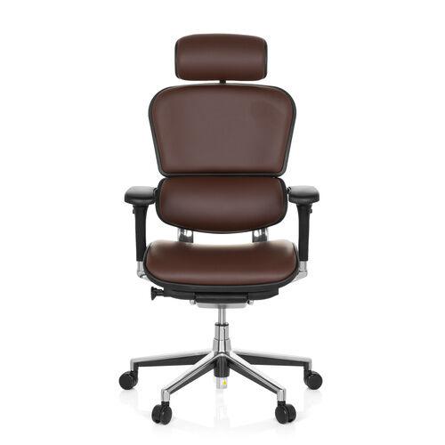 hjh OFFICE ERGOHUMAN cuir - Siège de direction de luxe brun foncé