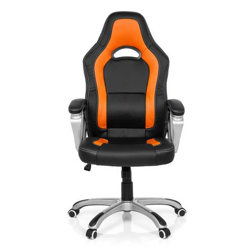 MyBuero GAMING ZONE PRO AB100 - Siège de bureau à domicile Buerostuhl24 simili cuir Noir/Orange