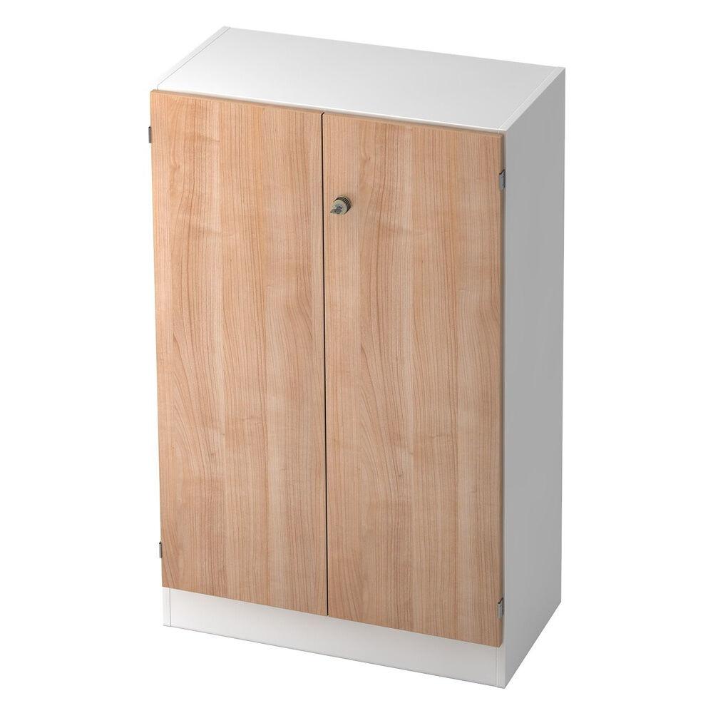 hjh OFFICE PRO SIGNA K 6550 SG - Blanc/Noyer avec bouton (verrouillable) Armoire