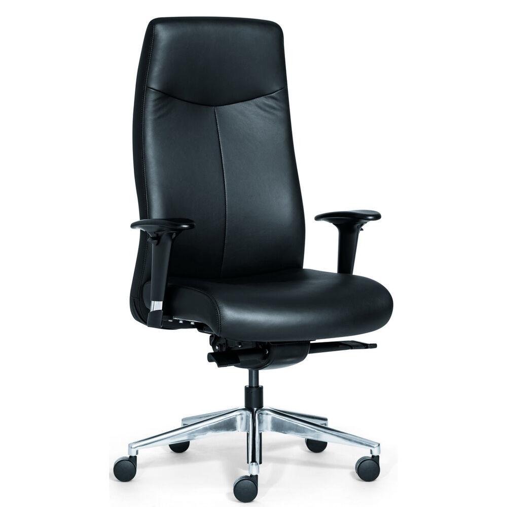 Rovo Chair ROVO XL - Siège de direction de luxe Noir cuir véritable avec haut Rovo Chair cuir