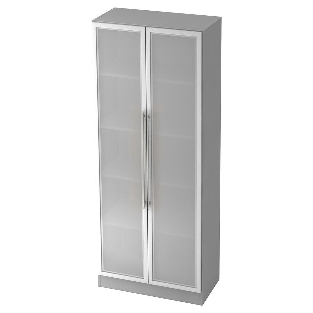 hjh OFFICE PRO SIGNA G 7100G RE - Gris/Argent Armoire avec portes en verre dépoli poignée de bastingage plastique