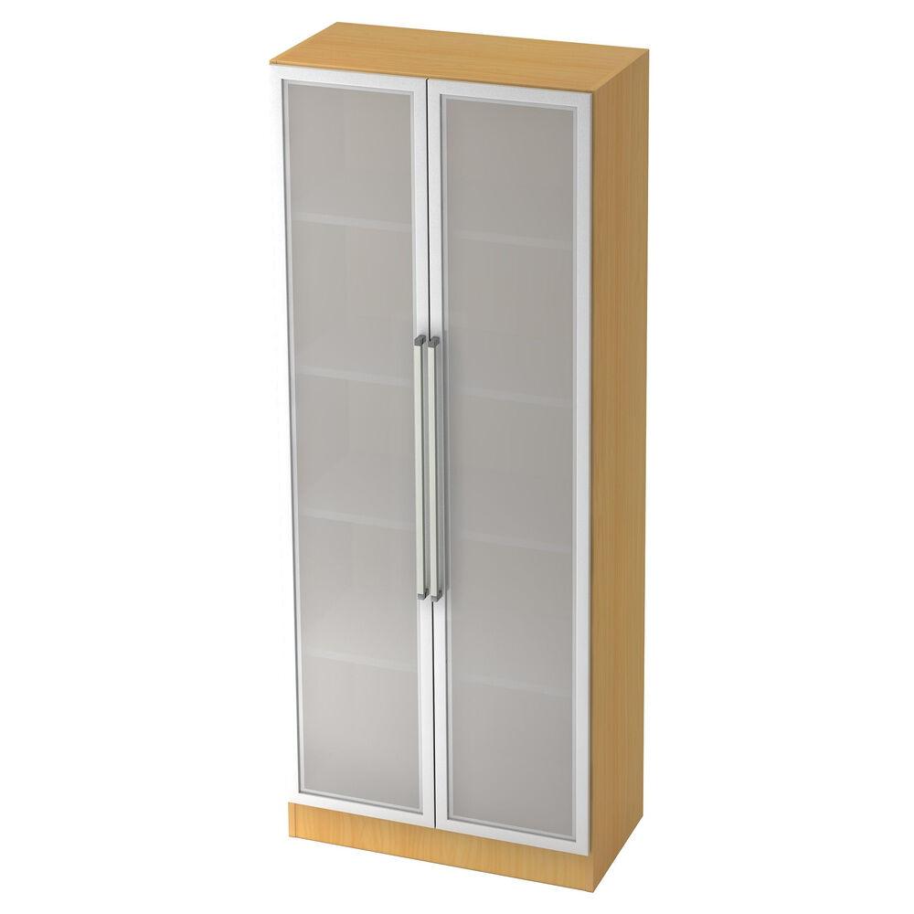 hjh OFFICE PRO SIGNA G 7100G CE - Hêtre/Argent Armoire avec portes en verre dépoli poignée chrome métal