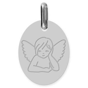 Mon Premier Bijou Médaille Ange pensif ovale (or blanc 9ct) - Publicité