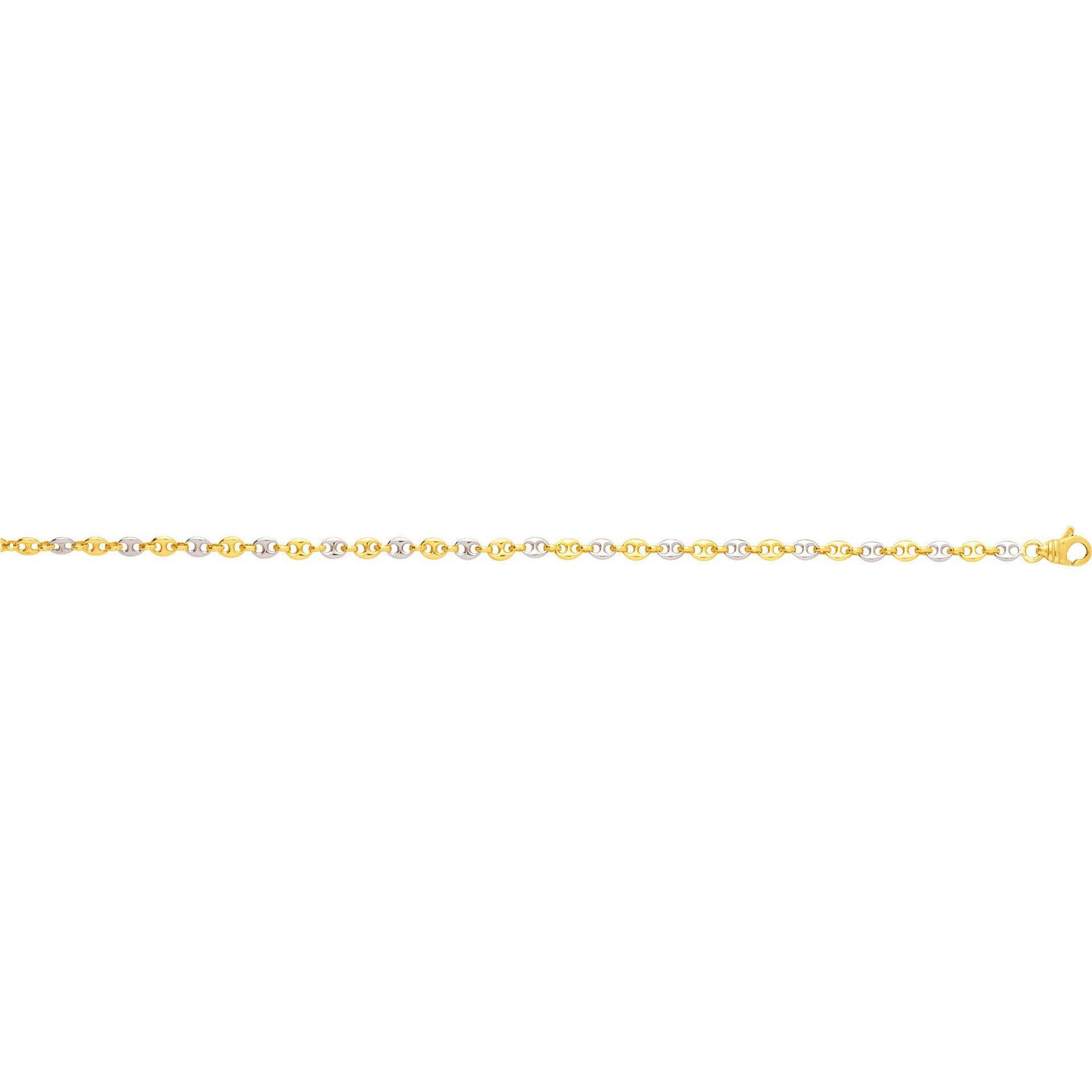 Mon Premier Bijou Bracelet maille grains de café - Or jaune et blanc 18ct