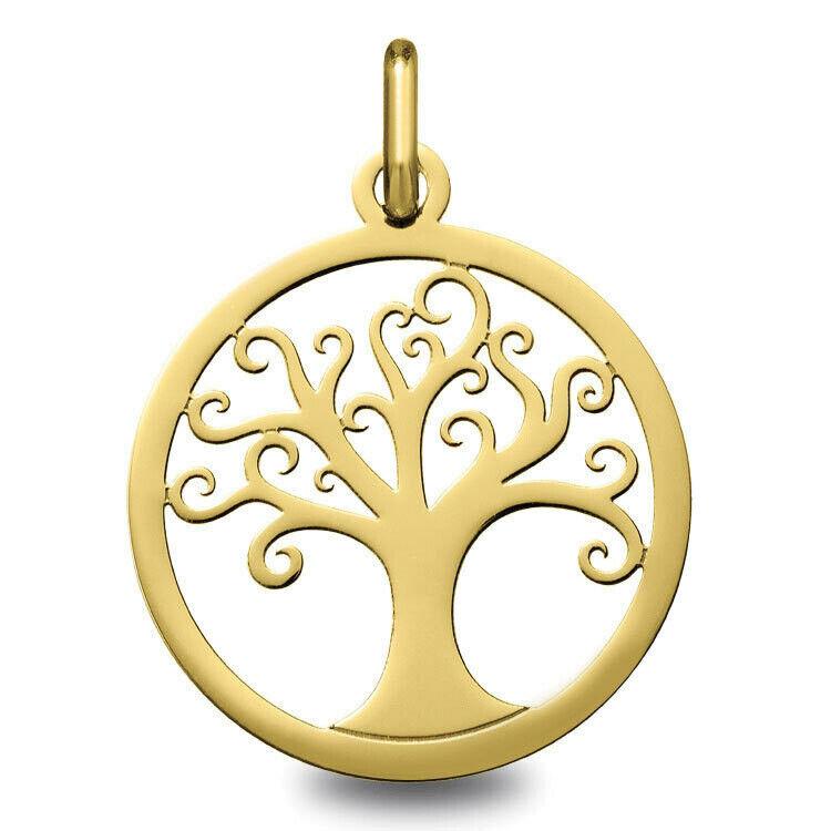 Mon Premier Bijou Médaille Arbre de vie ondulé ajourée - Or jaune 18ct
