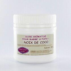 Confiserie Foraine Sucre à barbe à papa NOIX DE COCO sucre coloré et arômatisé prêt à l'emploi ! boîte de 500 g