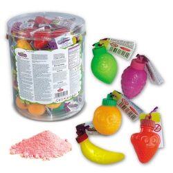 Fantasy Toys Tubo de 60 Pica Fruit à la poudre acidulée petits fruits en plastique remplis de poudre à 0.14 € l'unité !