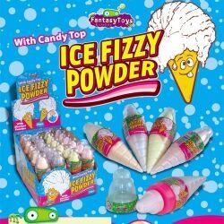 Fantasy Toys Présentoir de 24 Ice Fizzy Powder Fraise cornet de glace avec bonbon dextrose rempli de poudre à 0.37 € l'unité !