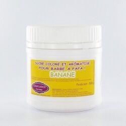 Confiserie Foraine Sucre à barbe à papa BANANE sucre coloré et arômatisé prêt à l'emploi ! boîte de 500 g