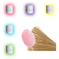 Confiserie Foraine Pack 5 pots de COLORANTS aromatisés pour barbe à papa + 500 bâtons en bois offerts ! - usage professionnel - choisissez parmi les parfums disponibles !