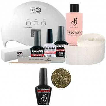 Beauty Nails Pack Beauty Nails + Lampe 48 watts Wonderlack Extrême Beautynails Heavy Glitter Gold
