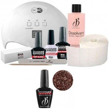 Beauty Nails Pack Beauty Nails + Lampe 48 watts Wonderlack Extrême Beautynails Heavy Glitter Rose Gold
