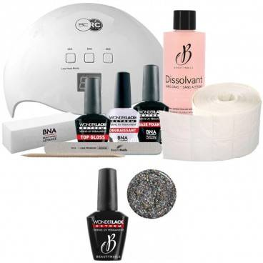 Beauty Nails Pack Beauty Nails + Lampe 48 watts Wonderlack Extrême Beautynails Heavy Glitter Holo Silver