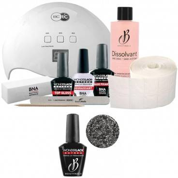 Beauty Nails Pack Beauty Nails + Lampe 48 watts Wonderlack Extrême Beautynails Heavy Glitter Silver