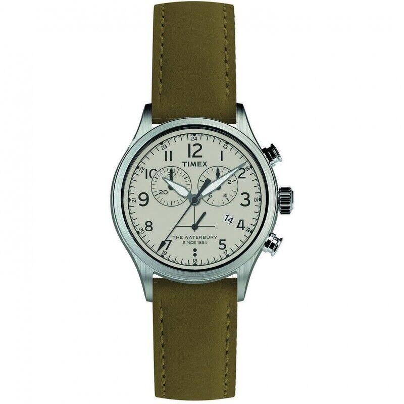 Timex Montre Timex Homme Chrono The Waterbury Acier Cuir Vert TW2R70800D7