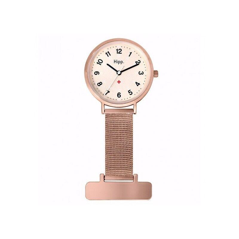 Hipp Montre Femme Infirmière Analogique Quartz Bracelet Acier Inoxydable Doré Rose - H30006