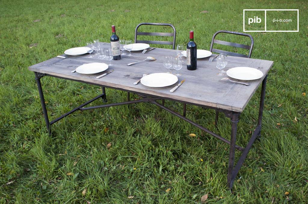 Chehoma Table vintage de tapissier en orme ancien