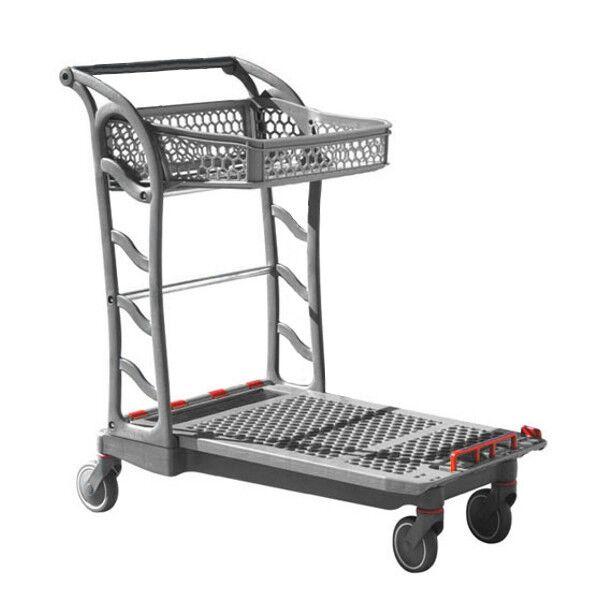 Rolléco Chariot à plateforme pour magasins spécialisés Coloris gris/bleu