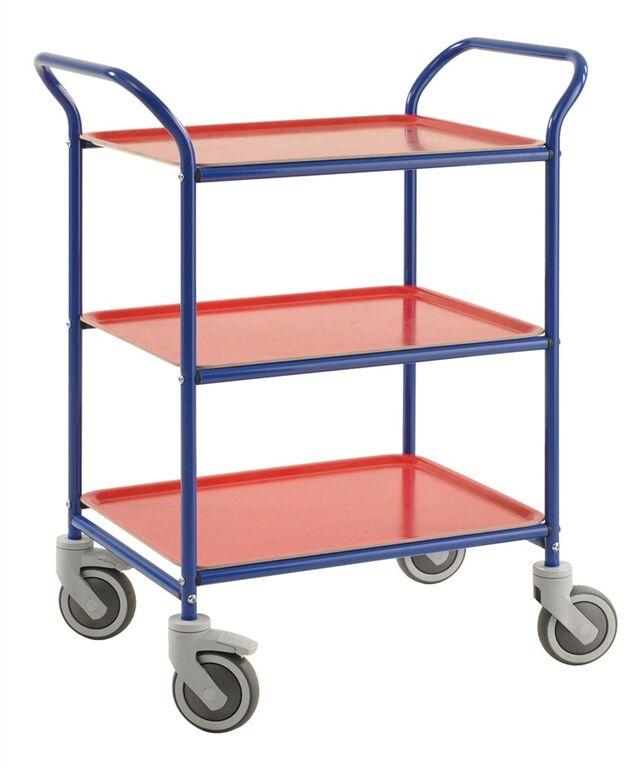 Rolléco Chariot service sur roues - 3 plateaux Bleu / Rouge