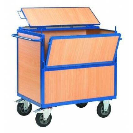 Rolléco Chariot de stockage en bois avec couvercle Longueur : 1000 mm