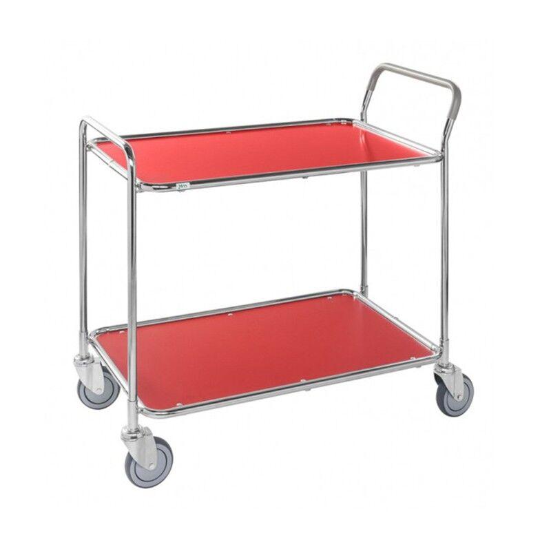 Rolléco Chariot de service sur roues - 2 et 3 plateaux Coloris : Rouge