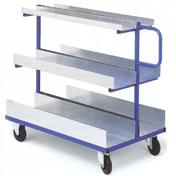 Rolléco Chariot à étagères tôlées charges longues et volumineuses 3 niveaux