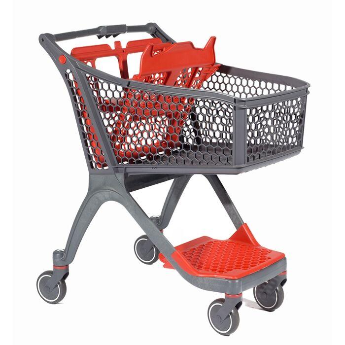 Rolléco Chariot libre service supermarché Coloris gris/rouge - Avec grille inférieure