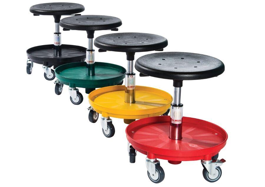 Rolléco Tabouret technique sur roulettes avec rangement Coloris de la base : Jaune