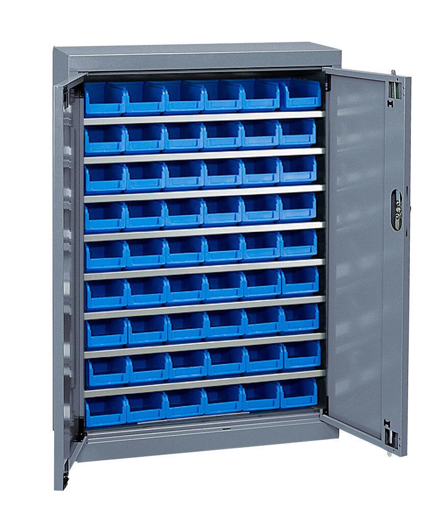 SETAM Armoire à bacs basse avec portes + 54 bacs plastique 1 litre