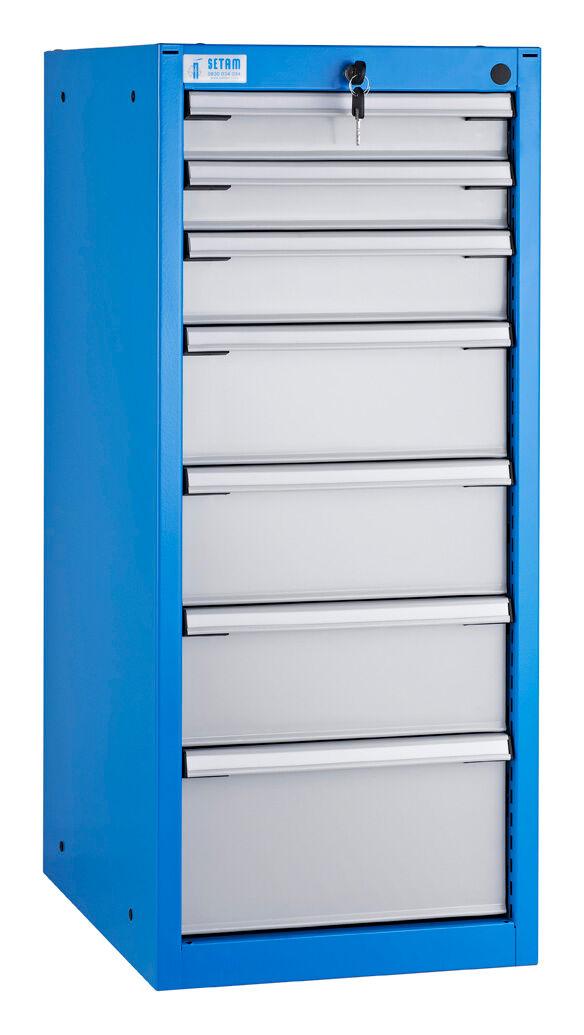 SETAM Armoire d'atelier 7 tiroirs étroits L.42 x P.60 cm