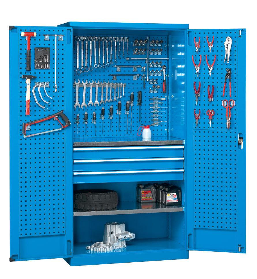 SETAM Armoire d'atelier avec panneaux perforés et tiroirs bleu