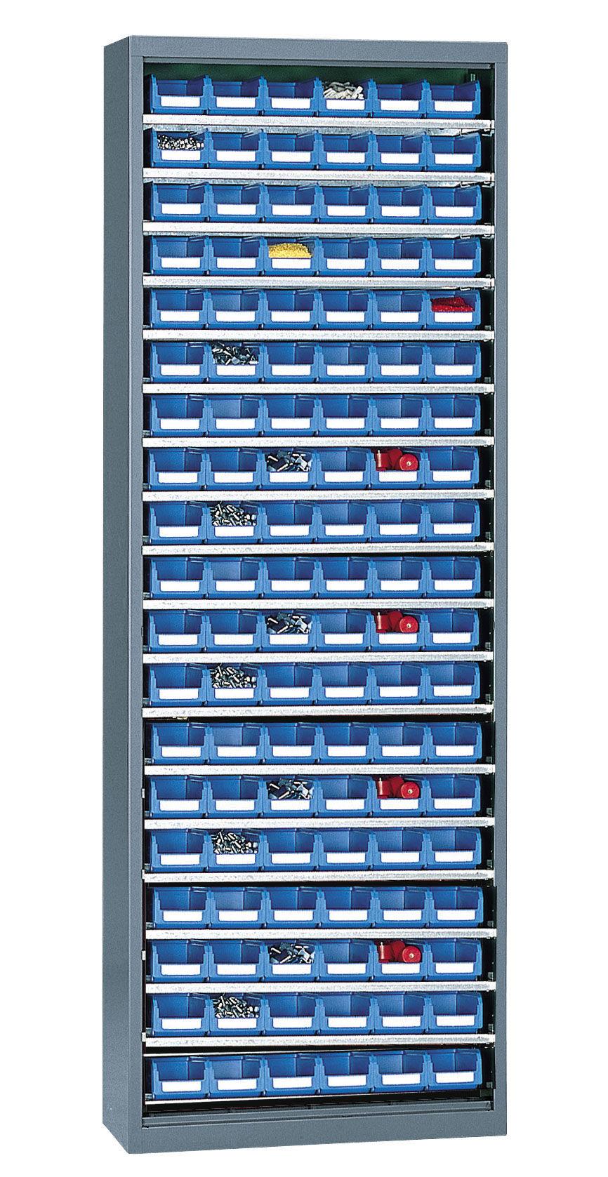 SETAM Armoire porte-bacs haute sans porte + 114 bacs plastique 1 litre