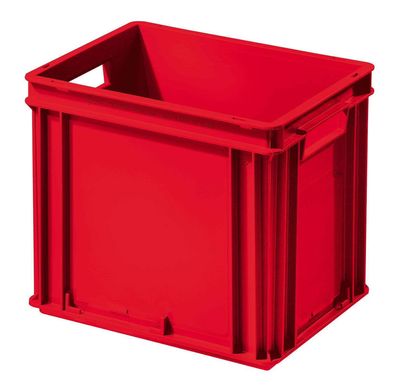 SETAM Caisse plastique Athéna rouge 30 litres poignées ouvertes