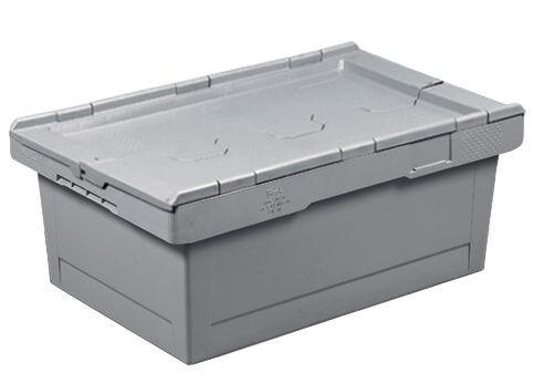 SETAM Caisse plastique grise 38 litres 60x40 mm avec couvercle 2 parties