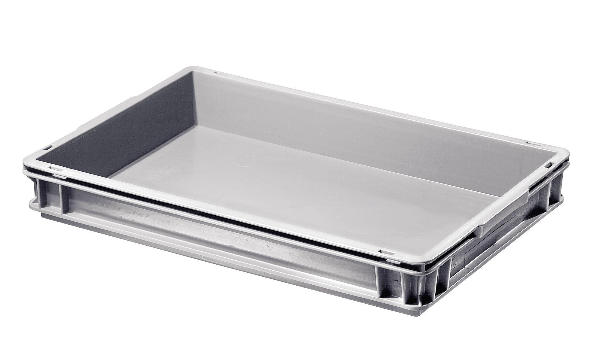 SETAM Caisse plastique plate coloris gris 10 litres