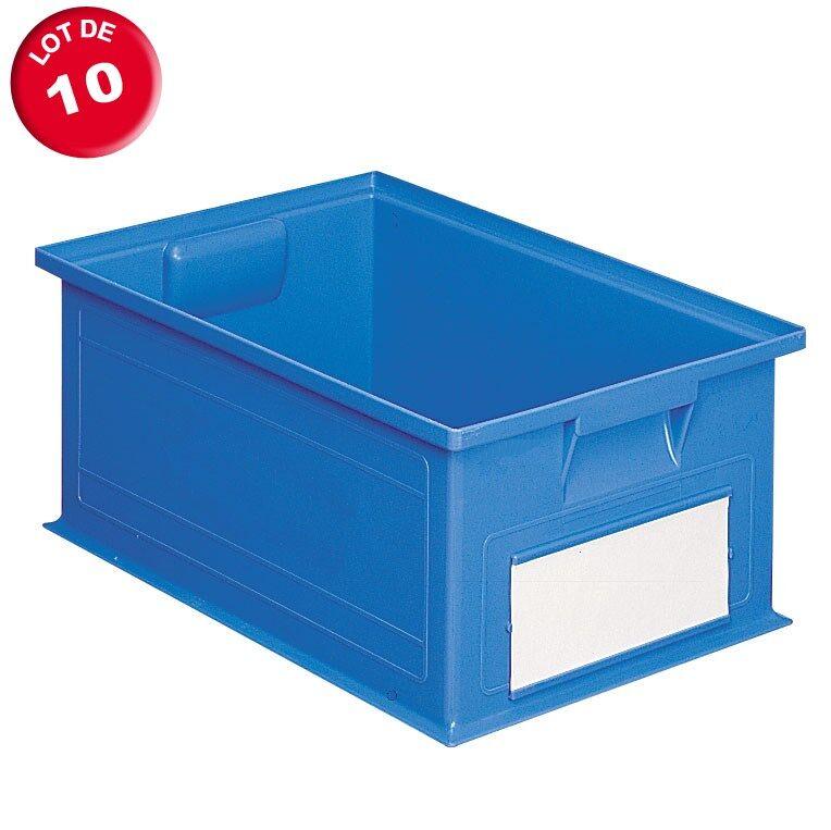 SETAM Carton de 10 caisses rangement 27 litres bleues