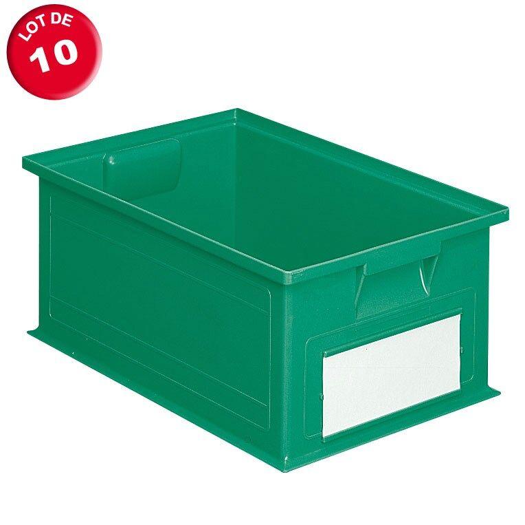 SETAM Carton de 10 caisses rangement 27 litres vertes