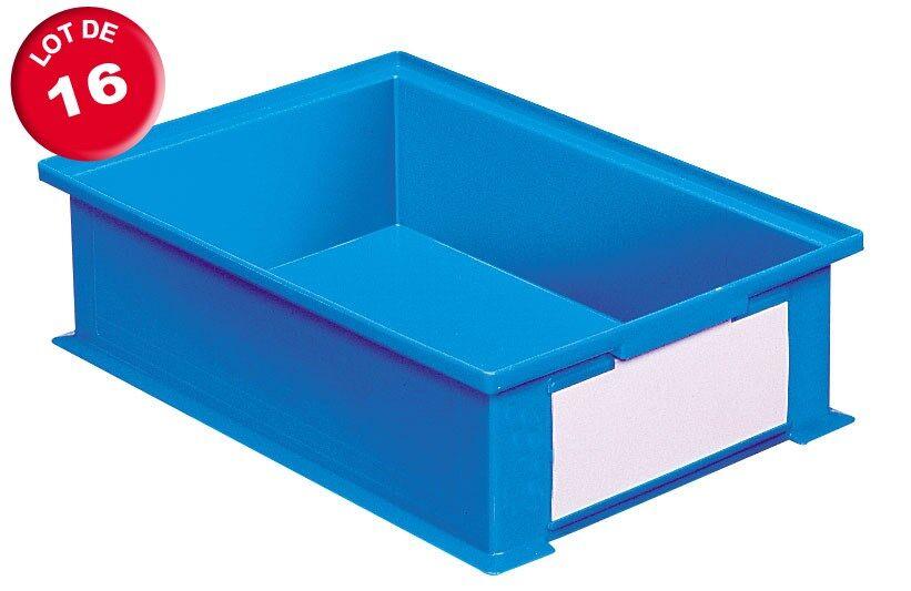 SETAM Carton de 16 caisses rangement 16 litres bleues