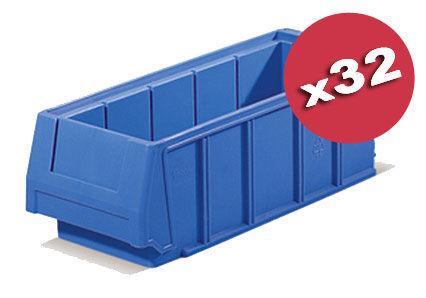SETAM Carton de 32 bacs tiroirs plastique bleu L.12 x P.30 cm