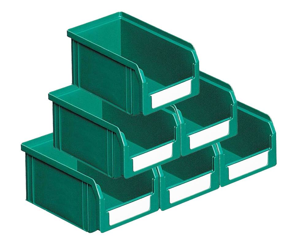 SETAM Carton de 50 bacs plastiques à bec 1 litre vert