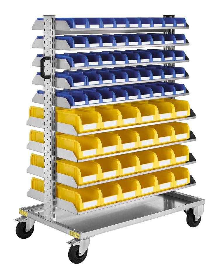 SETAM Chariot bac à bec avec 138 bacs plastiques