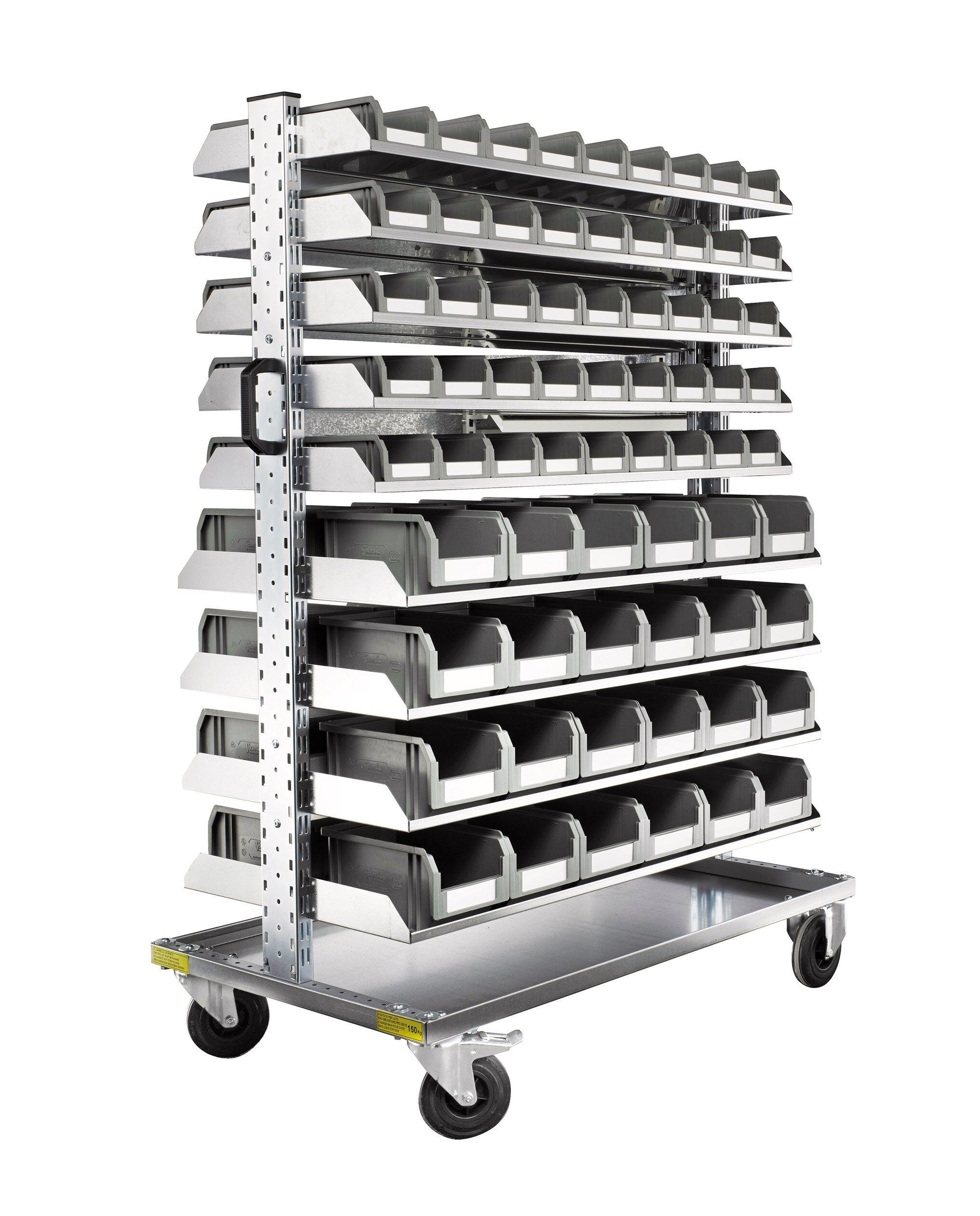 SETAM Chariot mobile avec rack 138 bacs à bec plastiques