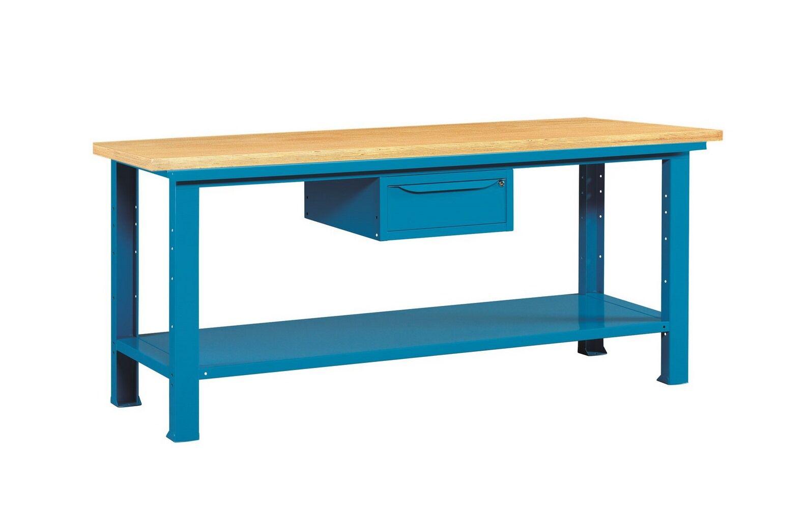 SETAM Etabli acier avec plateau bois et tiroir 2 mètres