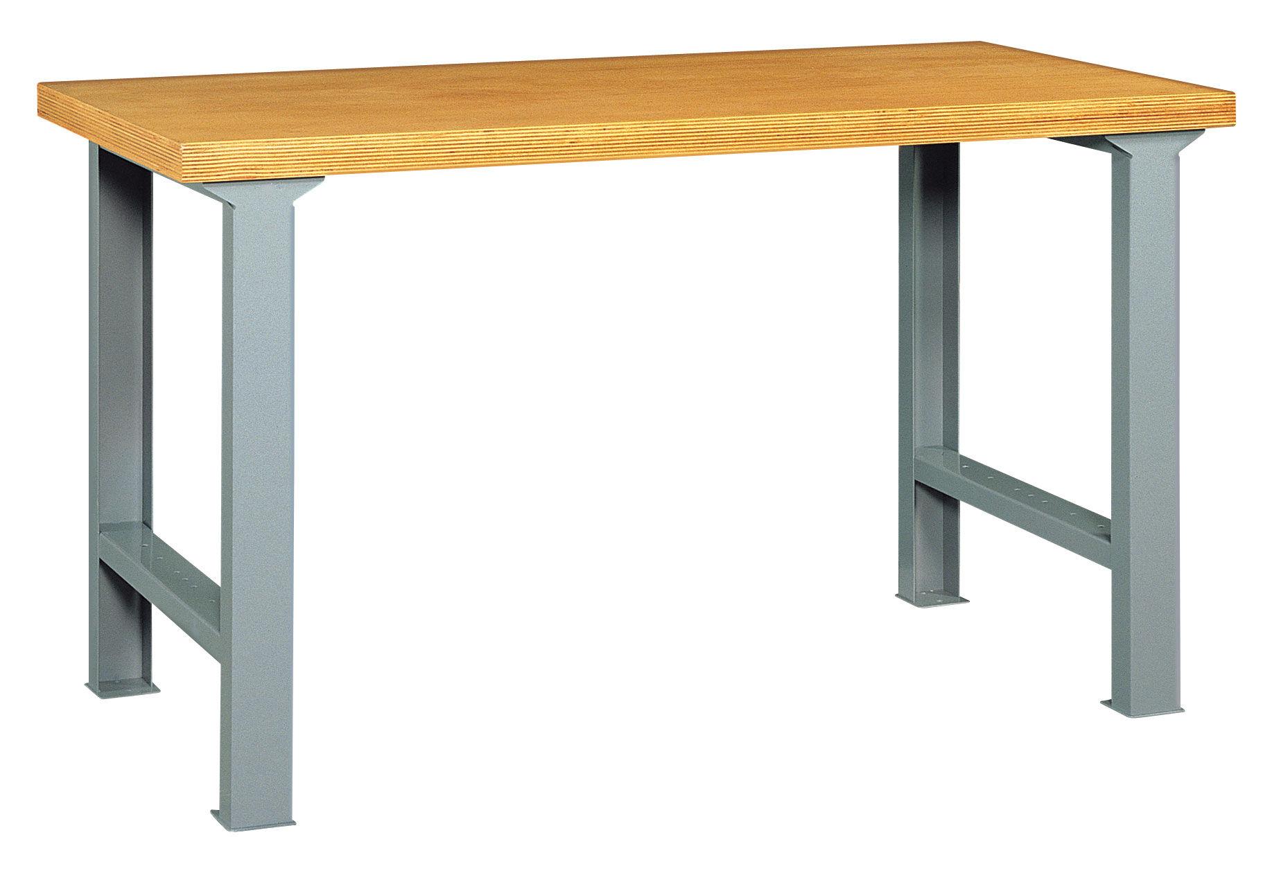 SETAM Etabli atelier avec pieds métal et plateau bois 2 mètres