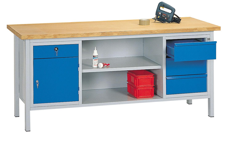 SETAM Etabli atelier avec tiroirs et plateau bois 2 mètres