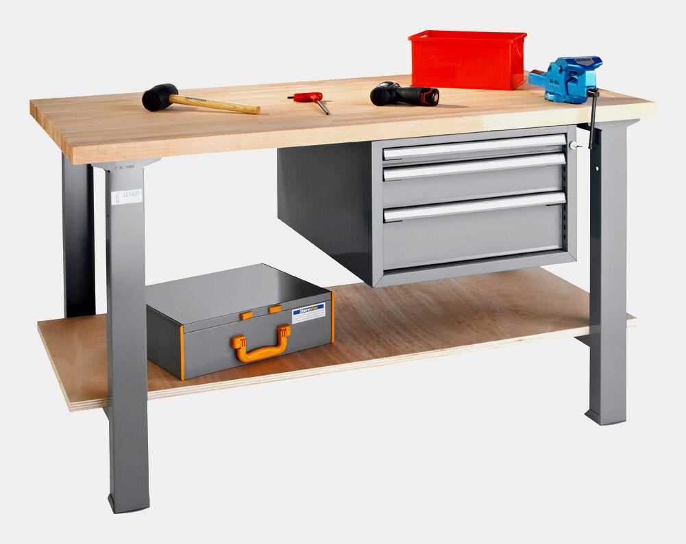 SETAM Etabli atelier plateau bois L.150 cm et bloc 3 tiroirs