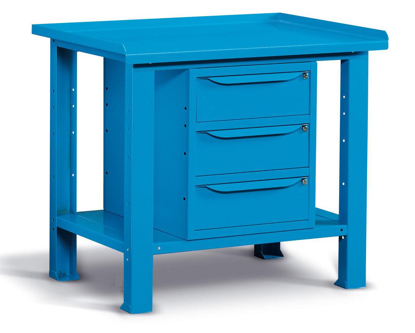 SETAM Etabli d'atelier 3 tiroirs 1m bleu