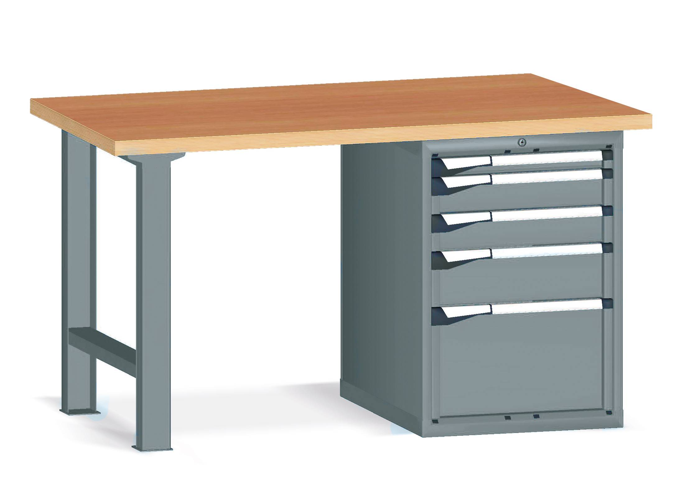 SETAM Etabli d'atelier avec 5 tiroirs - Longueur 2