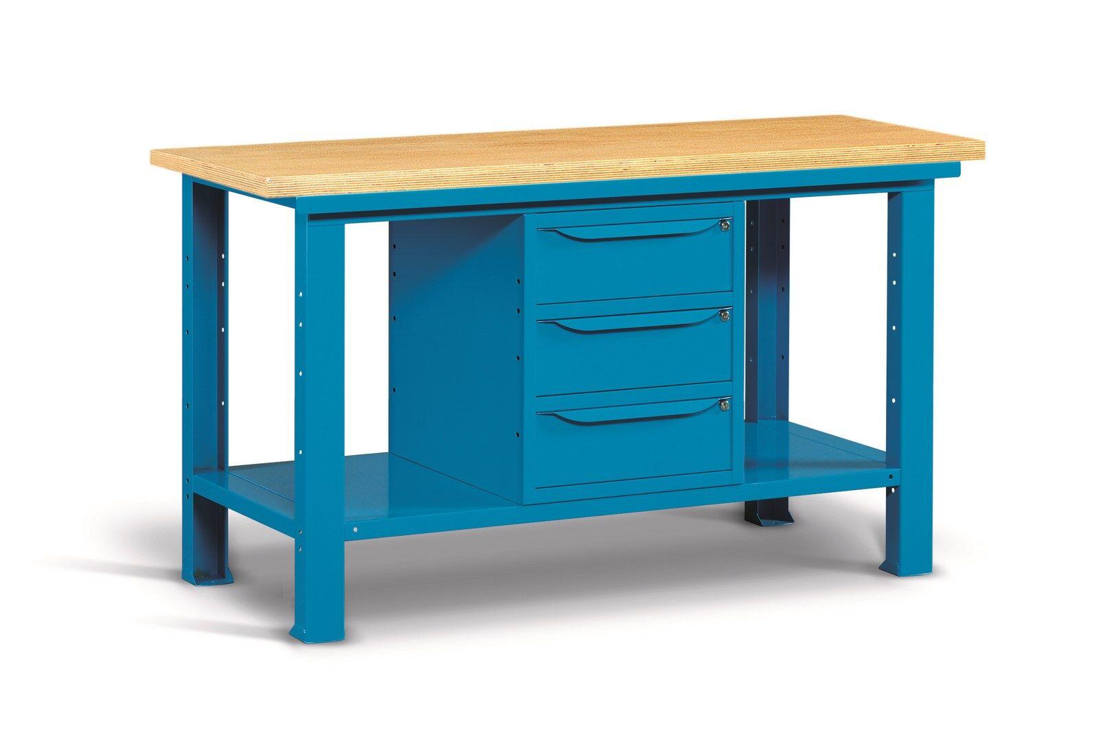 SETAM Etabli d'atelier avec plateau bois et 3 tiroirs 1mètre 50